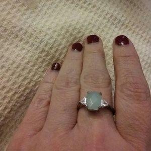 Avon green opaque stone ring
